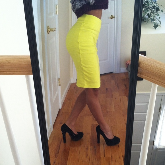 33 forever 21 dresses skirts yellow high waisted