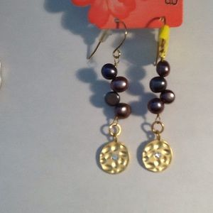 Gold Plate earrings with Freshwater Pearls