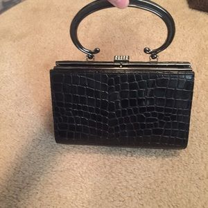 Black Faux Alligator Clutch