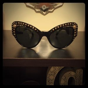 Black Embellished Versace Sunglasses