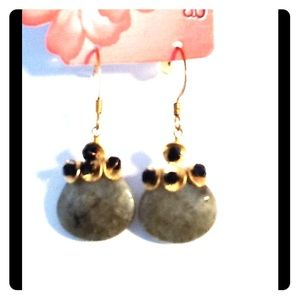 Gold Plated Laborite earrings & black crystals