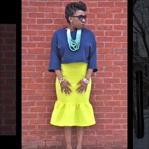 Asos Bright Green Peplum Hem Skirt