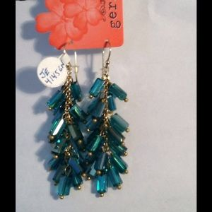 Faceted Green Beads & Gold Plated Chain Earrings