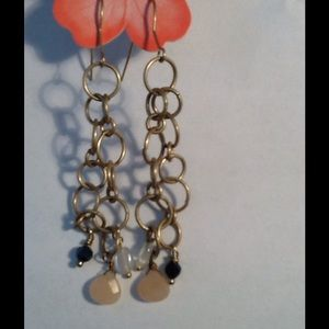 Gold Plated Circles Rose Quarts Drop earrings