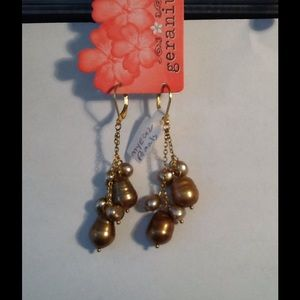 Genuine Gold Freshwater Pearl Earrings