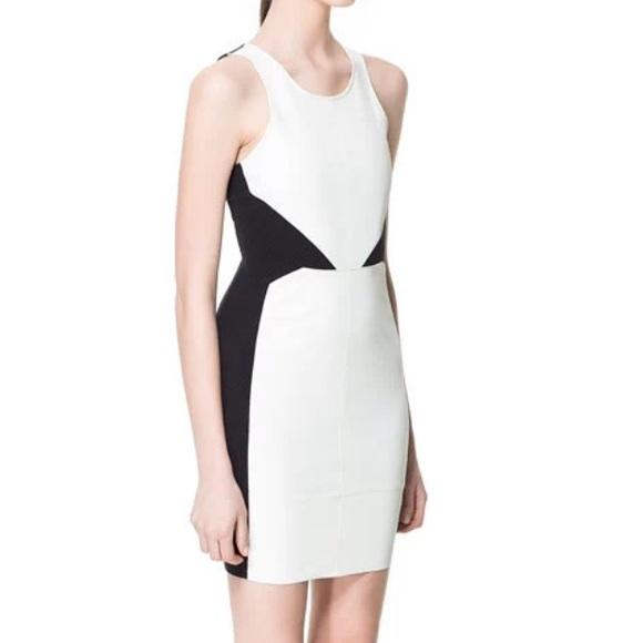 71d614d5 Zara Dresses   Black White Faux Leather Size Large   Poshmark
