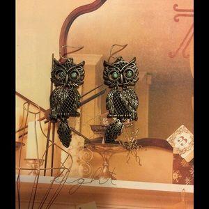 Fossil owl earrings