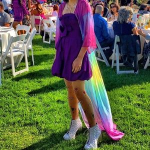 Purple Sleeveless Cocktail Party Bubble Dress
