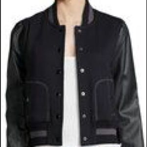 Rachel Zoe Faux-Leather-Sleeve Baseball Jacket