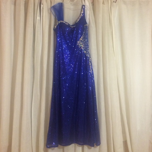 Used Plus Size Ball Gowns: Sparkly Royal Blue Ball Gown Plus Size
