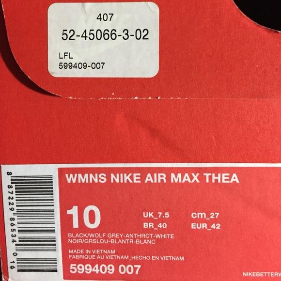 Air Noir Et Blanc Nike Femmes Max Thea Formateurs Détestent 4wEu2ey