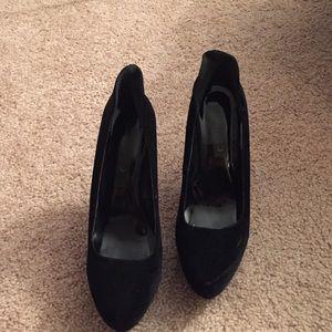 Suede black heels