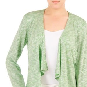 AUGUST SILK Open Front Wrap Thin Green Sweater