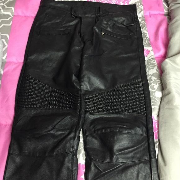 high fashion discount shades of Balmain | Leather Biker Pants - Black NWT