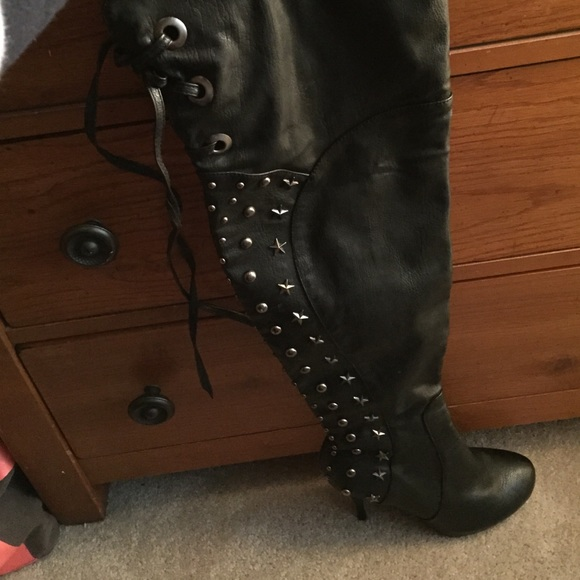 knee high boots with studs 8 5 from diana s closet on poshmark