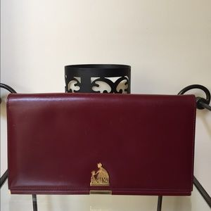 FLASH SALELanvin Red Maroon Large Leather Clutch