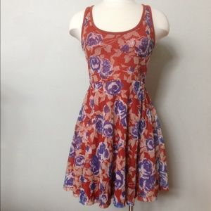 Brunt orange and blue flower dress