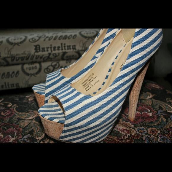 JustFab Shoes - Striped platform heels