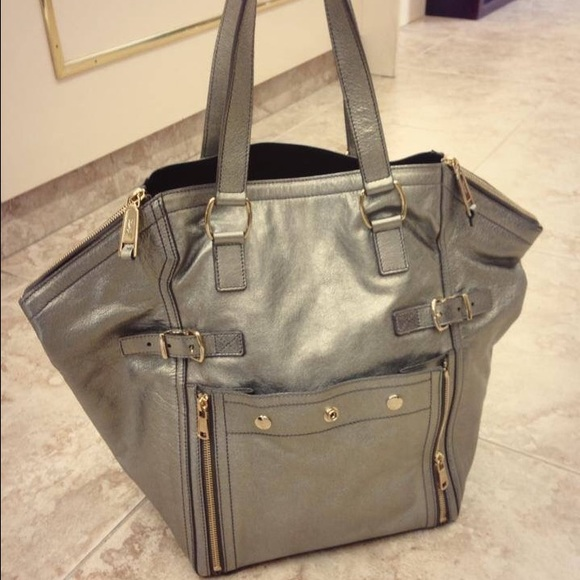 Amazing YSL Large Downtown Tote in Silver f75ffebde0f52