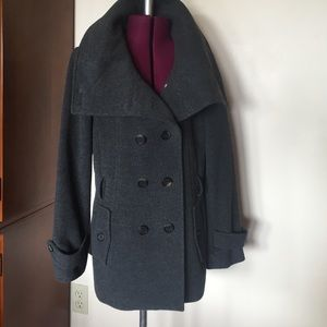 Cole Haan Gray Wool Cashmere Flannel Coat 8