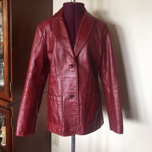 Gap Vintage Red Leather Blazer Jacket S