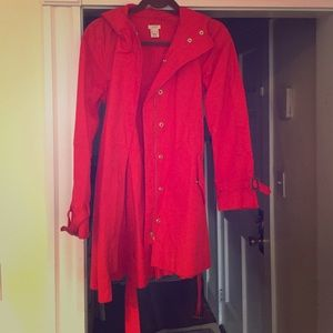 Jcrew red trench coat