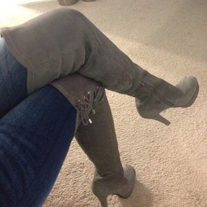 877dc95a3bf Jennifer Lopez Shoes - Jlo over the knee grey boots