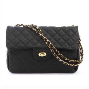 Black Quilted Faux Leather Handbag