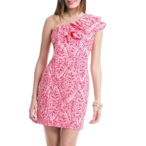 Lilly Pulitzer Pink Tropical One Shoulder Dress