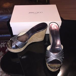 Authentic Jimmy Choo Silver and Cork Wedge Sandals
