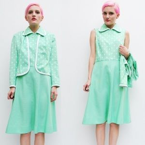 Vintage mint and white polka dot dress and jacket
