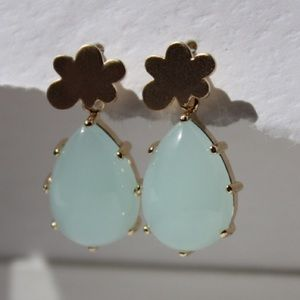 ☁️Icy blue and gold dangle earrings☁️