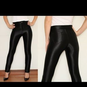 High waste disco pants black
