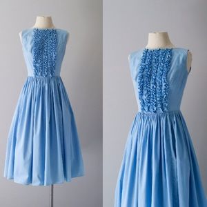 Robins egg blue vintage ruffle dress