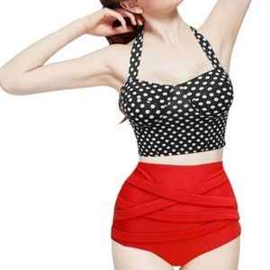 Vintage Polka Dots Bikini Bandage Bottom Swimsuit