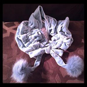 Lulu Guinness light blue velvet and fur scarf