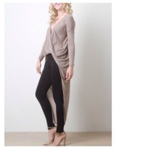 Tops - Taupe Plunge Scooped Jersey Maxi Top