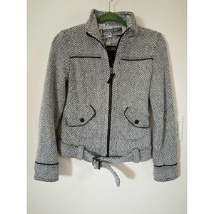 ZARA Grey tweed Moto Jacket Small UNWORN