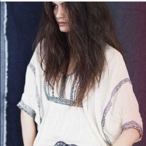Free People Embroidery Peasant Top
