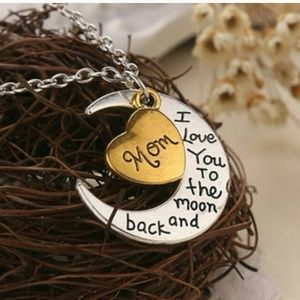 New Mom I Love You to the Moon and Back Necklace