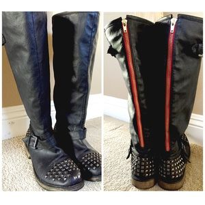 Boots - ✨NEW LISTING✨Black Studded Knee High Boots