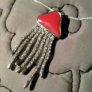 Designer Coral & Sterling Jellyfish Necklace