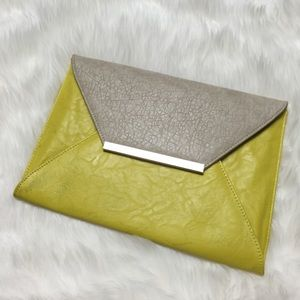 Clutches & Wallets - Beige & Lime Envelope Clutch