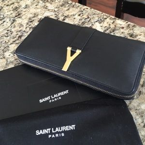 Authentic YSL blk leather Y buckle continental wal