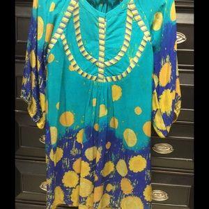 Silk Embroidered Tunic Dress