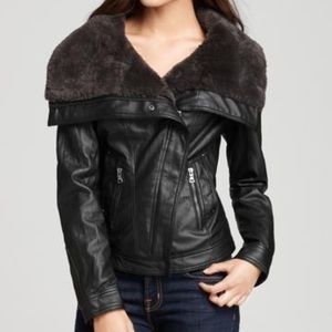 Guess Black Jacket Faux-leather Moto