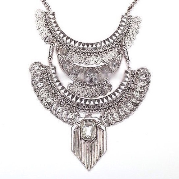 more coming soon silver coin bib necklace os from beth s