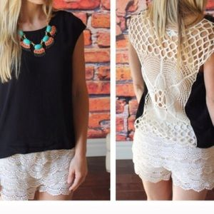 Umgee Tops - •Black Crochet Back•Top🚨CLEARANCE🚨FINAL PRICE