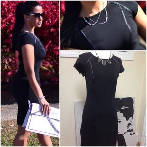 Black Stretch Faux Leather Trimmed Dress
