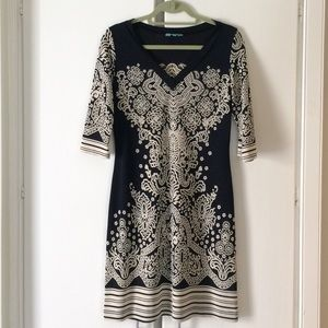 Navy blue print tunic style dress